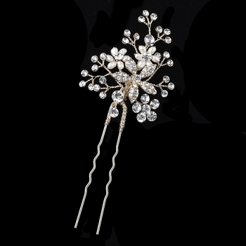 Light Gold Clear Rhinestone & Freshwater Pearl Flower Hair Pin 125