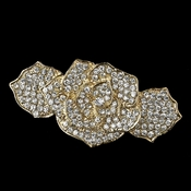 Light Gold Clear Rhinestone Rose Barrette