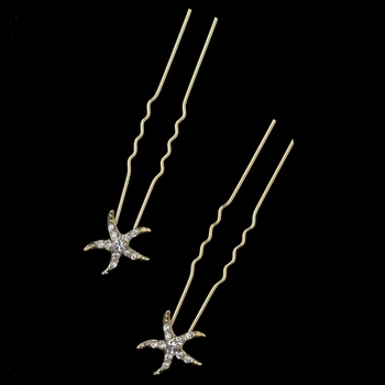 Light Gold Clear Rhinestone Starfish Hair Pin 2118 (Set of 2)