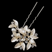 Light Gold Floral Leaf Freshwater Pearl & Rhinestone Pin 99