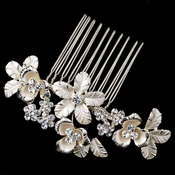 Light Gold Flower Rhinestone Comb 4657