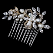 Light Gold Freshwater Pearl & Rhinestone Ribbon Leaf Comb