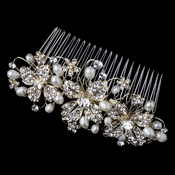 Light Gold Freshwater Pearl & Rhinestone Wired Floral Comb