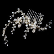 Light Gold Freshwater Pears & Rhinestone Floral Twigs Comb