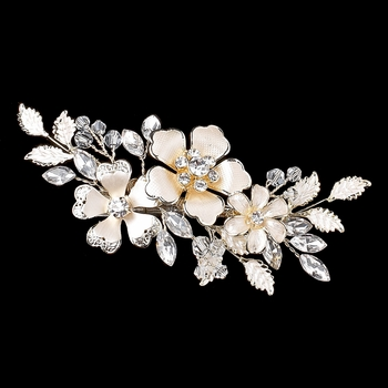 Light Gold Ivory Enameled Flower Hair Clip 34 w/ Swarovski Crystal Beads & Rhinestones