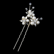 Light Gold Ivory Pearl & Rhinestone Hair Pin