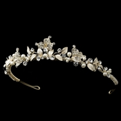 Light Gold Rhinestone & Ivory Pearl Tiara 1535