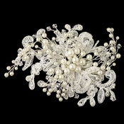 Light Ivory Lace Fabric w/ Pearl & Swarovski Crystal Bead Floral Spray Accent Hair Clip 24
