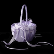 Lilac Lace Ribbon & Sheer Organza Flower girl Basket w/ Rhinestone & Pearl Accents