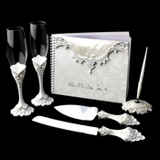 Lovely Victorian Lace Toasting Flutes, Cake Server, Guestbook & Pen Set