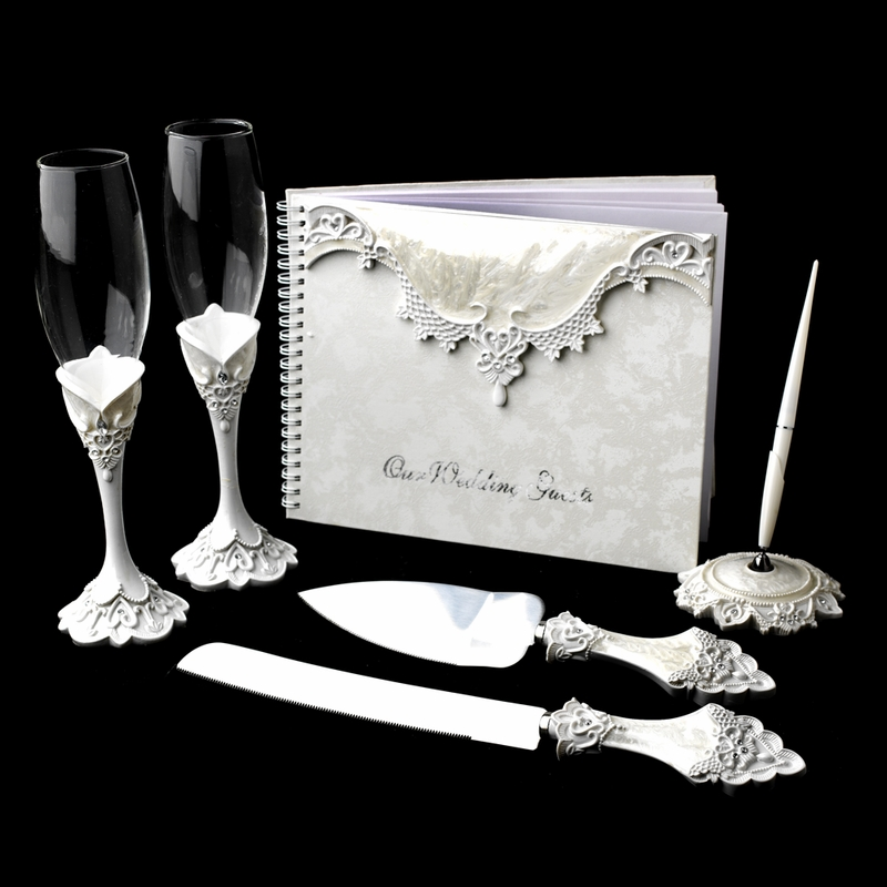 Lovely Victorian Lace Toasting Flutes Cake Server