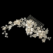 Lt Champagne Silver Plated Rhinestone & Ivory Pearl Floral Comb 62