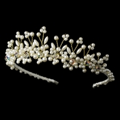 Lt Gold Plated Pearl and Swarovski Bridal Tiara HP 727