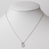 Silver CZ Crystal Round Clear Necklace 2617