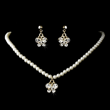 Necklace Earring Children Jewelry Set 7949 Gold Clear