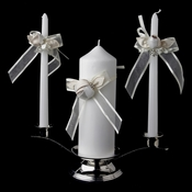 Organza Bow & Rose Unity Candle Set 796