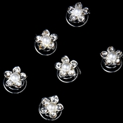 Pearl Crystal Flower Hair Twist In's KSP0135 (set of 24)