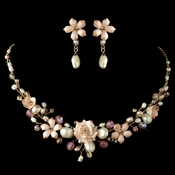 Pink Porcelain Floral Necklace Earrings Set 8142 (Gold or Silver)