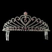 Pink Princess Rhinestone Accent Birthday Heart Tiara in Silver 316