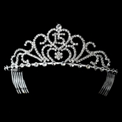 Radiant Silver Rhinestone Birthday Tiara Available in Sweet 15 or 16 Silver 6031