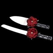 Red Flower Cake Server Set 804