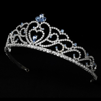 Regal Rhinestone Heart Princess Tiara in Silver with Light Blue Accents 516