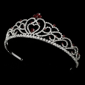 * Regal Rhinestone Heart Princess Tiara in Silver with Red Accents 516