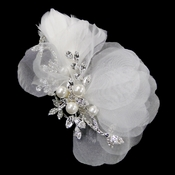 Rhinestone & Pearl Ivory Sheer Organza Feather Hair Comb 3200