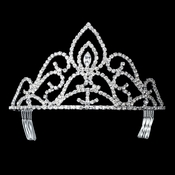 Rhinestone Covered Princess Peak Tiara in Silver 285