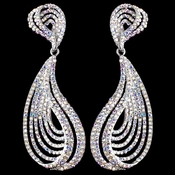 Rhodium AB Rhinestone Dangle Earrings 9893