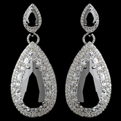 Rhodium Black Teardrop CZ Drop Earrings****Discontinued****