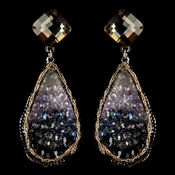 Rhodium Blue Light Amethyst Gold Smoke Crystal & Beaded Hand Made Drop Earrings 82040 (Only 1 Left In Stock)