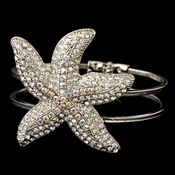 Rhodium Clear & AB Beach Starfish Bangle Bracelet 82026