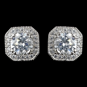 Rhodium Clear Cushion CZ Cut Pave Stud Earrings