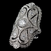 Rhodium Clear CZ Art Deco Ring 5314