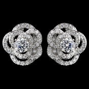 Rhodium Clear CZ Crystal Atomic Rose Stud Earrings 9206