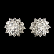 Rhodium Clear CZ Crystal Cluster Stud Earrings 7605***Discontinued***