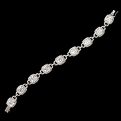 Rhodium Clear CZ Crystal Cushion Cut Link Bracelet 4401