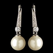 Rhodium Clear CZ Crystal & Diamond White Pearl Leverback Drop Earrings 9407