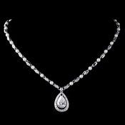 Rhodium Clear CZ Crystal & Diamond White Pearl Necklace 76019