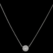 Rhodium Clear CZ Crystal Pave Round Circle Pendent Necklace 3505
