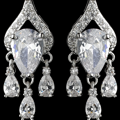Rhodium Clear CZ Crystal Pear Chandelier Earrings 9212