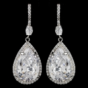 Rhodium Clear CZ Crystal Pear Teardrop Earrings 9207