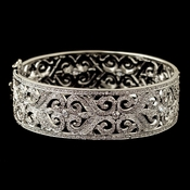 Rhodium Clear CZ Crystal Vintage Swirl Bangle Bracelet 4403