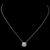 Rhodium Clear CZ Cushion Pendant Necklace 9790