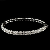 Rhodium Clear CZ Double Bangle Bracelet