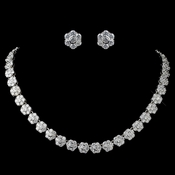 Rhodium Clear CZ Flower Jewelry Set **Discontinued**