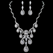 Rhodium Clear CZ Oval Teardrop Swirl Jewelry Set 9592