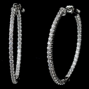 Rhodium Clear CZ Pave Hoop Earrings
