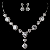 Rhodium Clear CZ Round Crystal Necklace 9620 & Earrings 9732 Jewelry Set